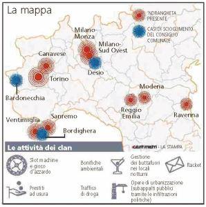 La mappa della 'ndrangheta al Nord (La Stampa, 11 dicembre 2014)