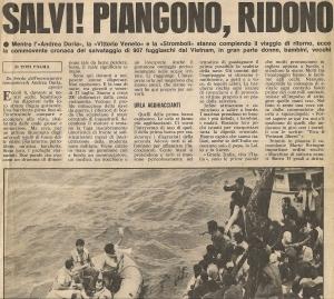 Cronaca italiana. Salvataggio delle prime imbarcazioni. 27 Luglio 1979