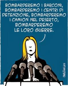 Mauro BIANI Mogherini: bombarderemo, 'il manifesto', 13 maggio 2015