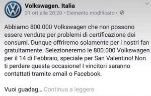 Bufala Wolkswagen Italia regala auto