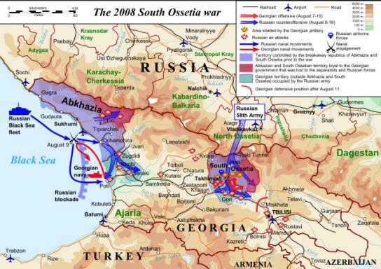 La cartina della guerra del 2008 nell'Ossezia del Sud (www.altd.it)