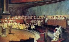 Rappresentazione di una seduta del Senato: Cicerone denuncia Catilina, affresco del XIX secolo