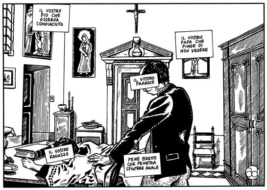 Vignetta censurata nel rispetto degli standard della comunità. Credits: Delicatessen, Mangiatori di Cervello.